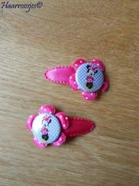 Haarspeldjes, peuter/kleuter, fuchsia roze met een polkadot bloemetje en een Minnie Mouse flatback.
