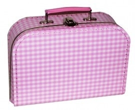 Koffertje, roze geruit - 25 cm.