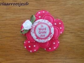 Haarlokspeldje, fuchsia roze polkadot , fuchsia roze satijnen bloem, 'Ik word grote zus' en fuchsia roze roosje.