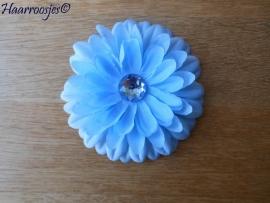 Haarbloem, aquablauw met strass steentje.