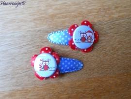 Haarspeldjes, peuter/kleuter, blauw polkadot met rood polkadot bloem en een 2 kerstuiltjes.