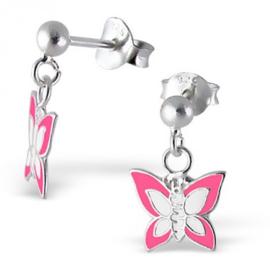 Zilveren kinderoorbellen, vlinder roze.