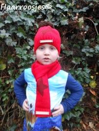 Wintersetjes sjaal en muts, rood.