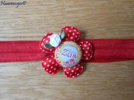 Elastisch haarbandje, rood, met rode polkadot bloem, `Kleine Zus` en wit roosje.