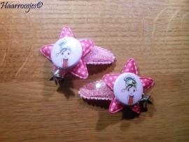 Haarspeldjes, peuter/kleuter, roze met pailletjes en een fuchsia roze ster, een meisje en een bedeltje.