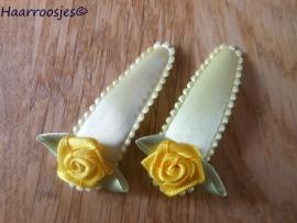 Haarspeldjes, meisje, geel met gele roos.