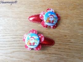 Haarspeldjes, peuter/kleuter, kerstrood met rode bloem met sneeuwvlokken en een kerstman..