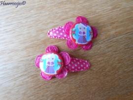 Haarspeldjes, peuter/kleuter, roze polkadot met kanten bloem en kerst Doornroosje.