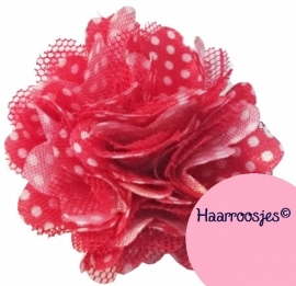 Haarbloem, rood polkadot met satijn en tule.