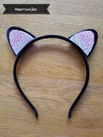 Haardiadeem met kattenoortjes, zwart met glitter - zilver/roze.
