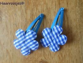 Haarspeldjes, peuter/kleuter, blauw met een geruit bloemetje.
