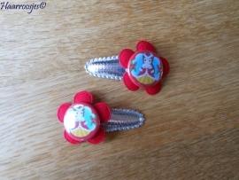 Haarspeldjes, peuter/kleuter, zilver met rode bloem en kerst Belle.