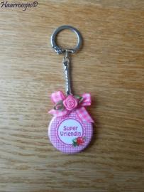Bedankcadeautjes, sleutelhanger `Super vriendin (roze/roosje)`