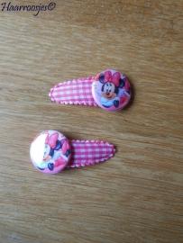 Haarspeldjes, peuter/kleuter, roze geruit en een Minnie Mouse flatback.