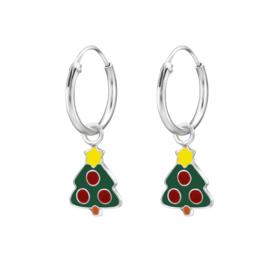 Zilveren oorbellen, kerstboom.
