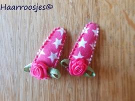 Haarspeldjes, baby, fuchsia roze met sterren en fuchsia roze roosje.