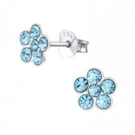 Zilveren kinderoorbellen, bloemetje blauw.
