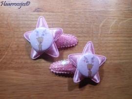 Haarspeldjes, peuter/kleuter, roze met pailletjes en een roze ster, een rendier.