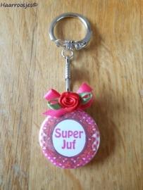 Bedankcadeautjes, sleutelhanger `Super Juf!` (fuchsia roze/rood)