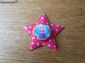 Haarlokspeldje, fuchsia roze ster met sterretjes en een kerst Doornroosje.