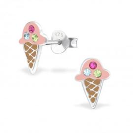 Zilveren kinderoorbellen, ijsje.