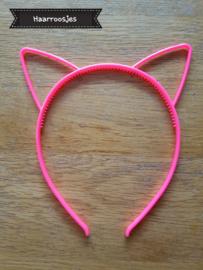 Haardiadeem met kattenoortjes, neon roze.