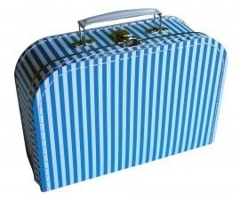 Koffertje, aqua blauw met witte strepen - 25 cm.