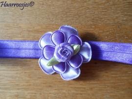 Elastisch haarbandje, paars, met effen bloem, effen bloemetje en paars roosje.