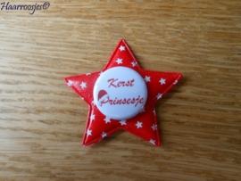 Haarlokspeldje, rode ster met sterretjes en een `Kerst prinsesje`.