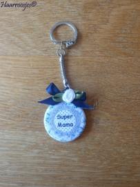 Bedankcadeautjes, sleutelhanger `Super mama` (donkerblauw)