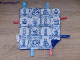Labeldoekje, delftsblauw en kobalt blauw badstof en 8 labeltjes - 3.