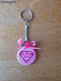 Bedankcadeautjes, sleutelhanger `Super mam` (roze)