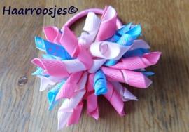 Krulliesss op elastiek, roze, lichtroze en mint met roze polkadots.