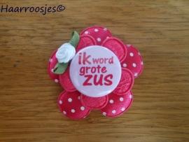 Haarlokspeldje, fuchsia roze polkadot , fuchsia roze kanten bloem, 'Ik word grote zus' en fuchsia roze roosje.