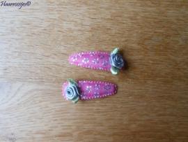 Haarspeldjes, meisje, roze met zilveren bloemetjes en grijze  roosje.