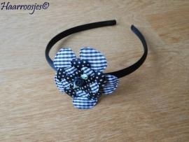 Haardiadeem, peuter/kleuter, zwart met zwarte geruite, polkadot, geruite, polkadot bloem en een zwart roosje.