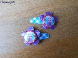 Haarspeldjes, peuter/kleuter, blauw geruit met lila bloem en kerst Doornroosje.
