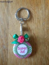 Bedankcadeautjes, sleutelhanger `Super Juf!` (groen/fuchsia roze)