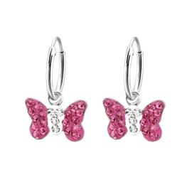 Zilveren kinderoorbellen, roze vlinder.