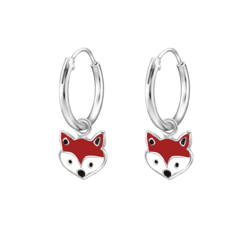 Zilveren oorbellen, vosje.