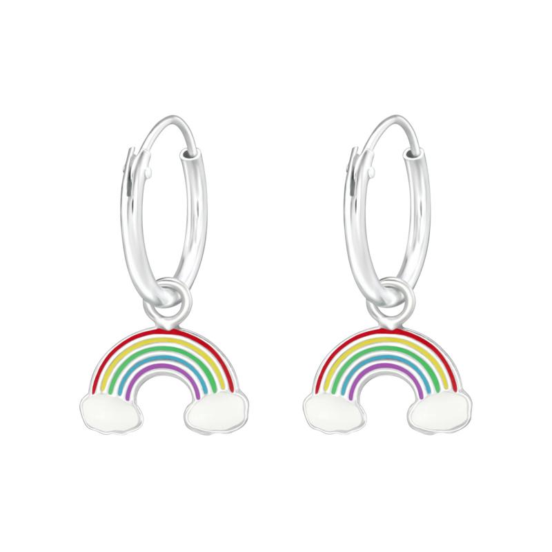 Zilveren oorbellen, met regenboog.