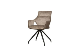NOLA SWIVEL ARMCHAIR - BROWN VELVET 8196-9 / FABRIC 7501-3