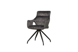 NOLA SWIVEL ARMCHAIR - GREY VELVET 8196-21 / FABRIC 7501-11