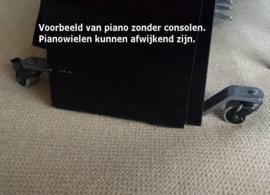 Pianowielen zilver rubber wiel, ook voor parketvloeren