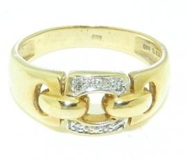 Gouden damesring met 4 diamantjes