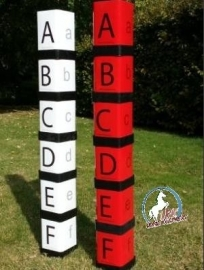 Letter blokkken A,B,C,D,E,F rood