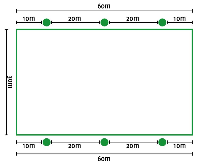 Lichtplan E rijbak 20/30x60 mtr