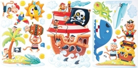 Muurstickers/Decoratiestickers piraten eiland {L4086/1/3} OP=OP