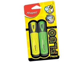 Markeerstift Fluo Pep's Classic Maped - geel/groen - op blisterkaart x 2 (M2/3)