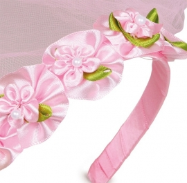(Bruids-)sluier roze en wit, set van 2 {L6217/1/1/B1}